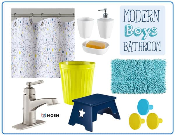 Modern Boys Bathroom with Moen Boardwalk Faucet in Brushed Nickel