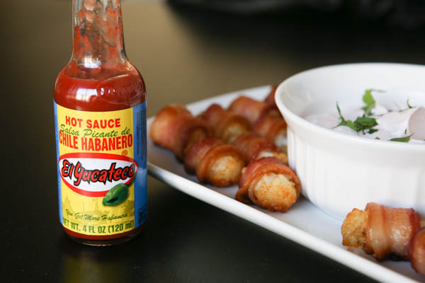 Bacon wrapped tater tots with spicy El Yucateco sour cream dip #ScoreOnFlavor #AD